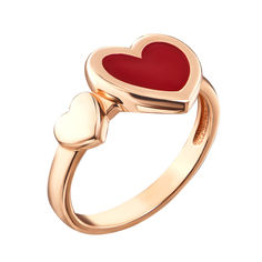 Кольцо в красном золоте с красной эмалью 000117708 000117708 18 размера от Zlato