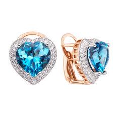 Золотые серьги в комбинированном цвете с голубым топазом и фианитами 000125316 000125316 от Zlato