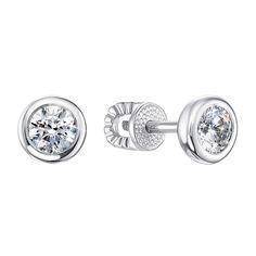 Серебряные серьги-пуссеты с завальцованными фианитами 000106890 000106890 от Zlato