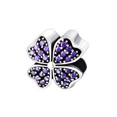 Серебряный подвес-шарм Счастливый клевер с фиолетовыми фианитами 000043252 от Zlato