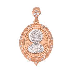 Ладанка из красного золота Николай Чудотворец с фианитами 000103935 000103935 от Zlato
