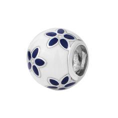 Серебряный шарм с белой и синей эмалью 000116376 000116376 от Zlato