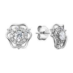 Серебряные серьги-пуссеты с цирконием 000135918 000135918 от Zlato
