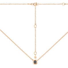 Акция на Золотое колье Эвита в красном цвете с черным цирконием 000117539 37 размера от Zlato