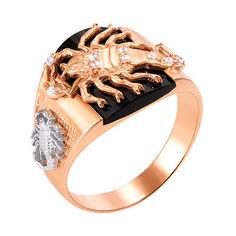 Перстень-печаткаиз красного золота с черным ониксом и фианитами 000004096 000004096 23 размера от Zlato