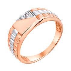 Перстень-печатка в красном и белом золоте Мужество с фианитами 000117635 20 размера от Zlato