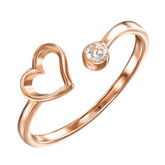 Кольцо из красного золота с фианитом 000121686 000121686 17 размера от Zlato