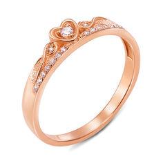 Кольцо-корона из красного золота с фианитами 000000255 000000255 19 размера от Zlato