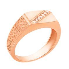 Золотой перстень-печатка Эдвард в красном цвете с дорожкой из фианитов 000123824 20.5 размера от Zlato
