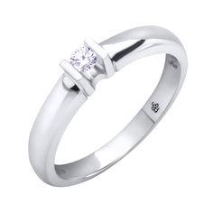 Кольцо в белом золоте с бриллиантом 000117586 000117586 17 размера от Zlato