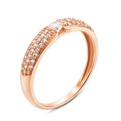 Золотое кольцо Мелания в красном цвете с фианитами 000129586 16 размера от Zlato