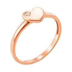 Кольцо из красного золота с фианитом 000129301 000129301 17 размера от Zlato