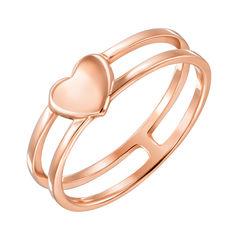 Золотое двойное кольцо Сердечко в красном цвете в стиле минимализм 000130310 17.5 размера от Zlato