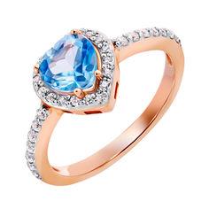 Кольцо в комбинированном цвете золота с голубым топазом и фианитами 000132192 000132192 17 размера от Zlato