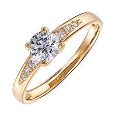 Помолвочное кольцо из желтого золота с фианитами 000130216 000130216 17.5 размера от Zlato