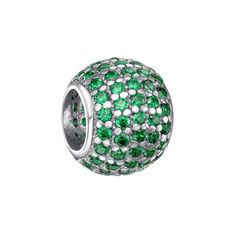 Серебряный шарм с зелеными фианитами и родированием 000124768 000124768 от Zlato