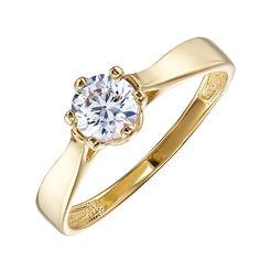 Помолвочное кольцо из желтого золота с цирконием 000130167 000130167 17.5 размера от Zlato