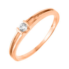 Золотое помолвочное кольцо Адония в красном цвете с кристаллом циркония 000130385 17 размера от Zlato