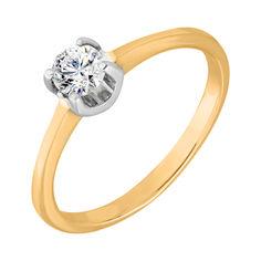 Золотое помолвочное кольцо Камелия в желтом цвете с фианитом 000129378 18 размера от Zlato