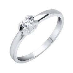Кольцо в белом золоте с бриллиантом 000117603 000117603 16.5 размера от Zlato