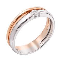 Кольцо в красном и белом золоте с бриллиантом 000117670 000117670 18 размера от Zlato