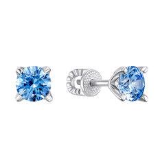 Серебряные серьги-пуссеты с голубыми цирконием Swarovski 000126845 000126845 от Zlato