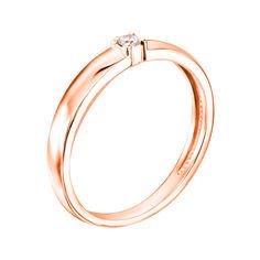 Кольцо в красном золоте с бриллиантом 000117658 000117658 17 размера от Zlato