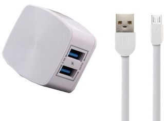 Сетевое ЗУ Remax 2.4 A Dual USB Charger + Data Cable for Micro white от MOYO