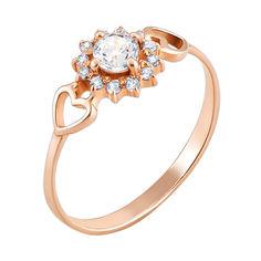 Кольцо из красного золота с фианитами 000061642 000061642 18 размера от Zlato