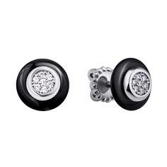 Серебряные серьги-пуссеты с черной керамикой и фианитами 000104669 000104669 от Zlato