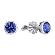 Серебряные пуссеты с завальцованными синими фианитами 000103458 000103458 от Zlato