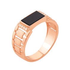 Перстень-печатка из красного золота с черным ониксом и фианитами 000117629 000117629 20 размера от Zlato
