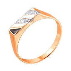 Золотой перстень-печатка в комбинированном цвете с цирконием и черной эмалью 000117637 000117637 19 размера от Zlato