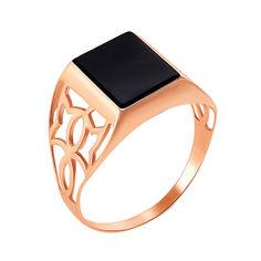 Перстень-печатка из красного золота с черным ониксом 000129156 000129156 18.5 размера от Zlato