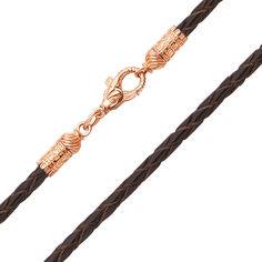 Ювелирный шнурок Стихия из темно-коньячной плетеной кожи и красного золота 000129006 000129006 55 размера от Zlato