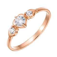 Золотое кольцо Карлина в красном цвете с тремя фианитами 000129148 17 размера от Zlato