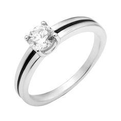 Серебряное кольцо с черной эмалью и цирконием Swarovski 000129728 000129728 18 размера от Zlato