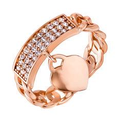 Кольцо из красного золота с фианитами и подвеской-сердцем 000139994 000139994 17.5 размера от Zlato
