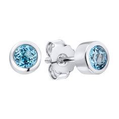 Серебряные серьги-пуссеты с топазами 000140608 000140608 от Zlato