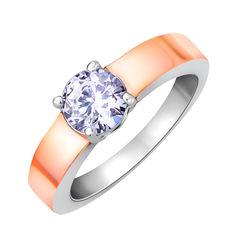 Серебряное кольцо с цирконием и позолотой 000130020 000130020 17.5 размера от Zlato