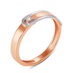 Кольцо в комбинированном цвете золота с бриллиантом 000125494 000125494 15.5 размера от Zlato