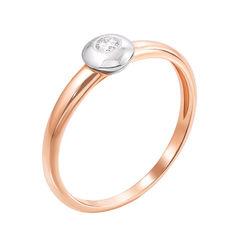 Золотое кольцо в комбинированном цвете с бриллиантом 000126343 000126343 16.5 размера от Zlato