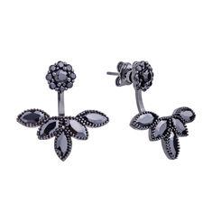 Серебряные серьги-джекеты в черном цвете с черными фианитами 000121399 000121399 от Zlato