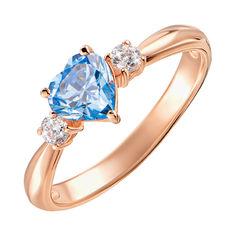 Кольцо из красного золота с голубым топазом и фианитами 000133700 000133700 17.5 размера от Zlato