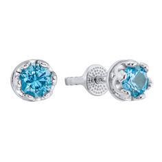 Серебряные серьги-пуссеты с синей шпинелью 000133353 000133353 от Zlato