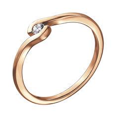 Кольцо из красного золота с бриллиантом 000139986 000139986 17.5 размера от Zlato