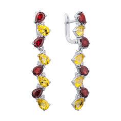 Серебряные серьги-подвески с гранатами, цитринами и цирконием 000140471 000140471 от Zlato