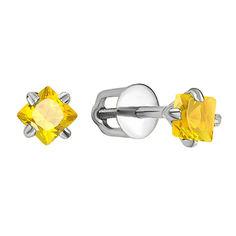 Серебряные серьги-пуссеты с желтыми фианитами 000132066 000132066 от Zlato