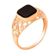 Перстень-печатка из красного золота с ониксом 000137190 000137190 19.5 размера от Zlato