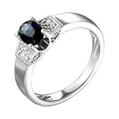 Кольцо из белого золота с сапфиром и бриллиантами 000139938 000139938 15.5 размера от Zlato
